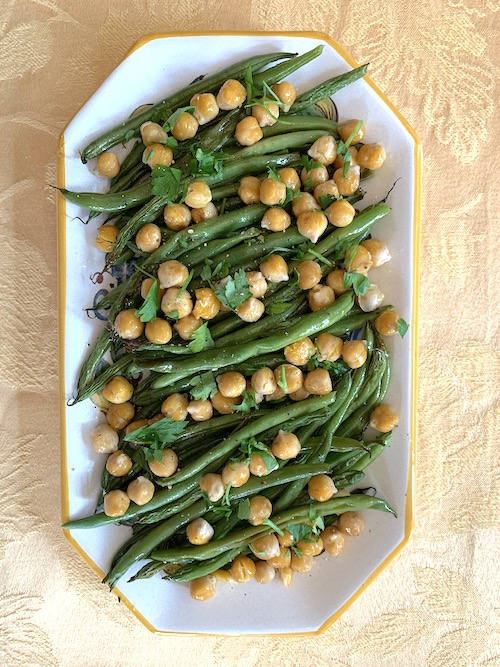 beans and crispy chickpeas