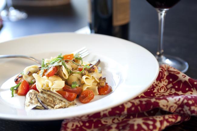 Caponata Pasta with Red Wine Chef Annette Tomei